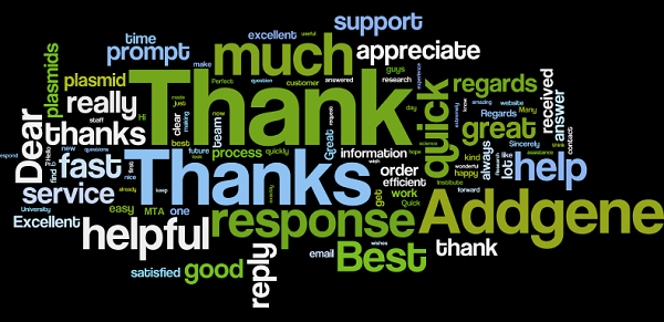 wordle of scientists' comments about Addgene